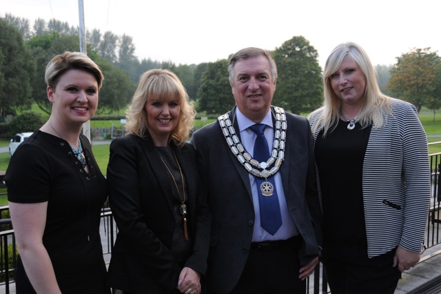 Vanessa Elder,Mencap Wendy Corkin,Gary Corkin, President Rotary Club Of Lisburn. Anna Wilkinson.Cancer fund for children